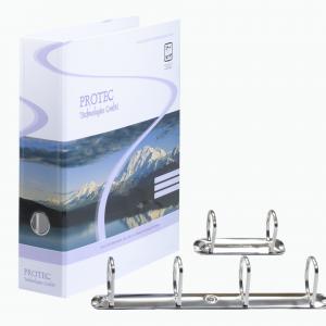Ringmappe mit Griffloch und Rückenschildtasche. 2-Fach und 4-Fach Ringmechaniken im Detail.